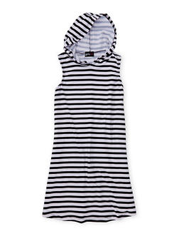 Girls 7-16 Sleeveless Striped Tank Dress with Hood - 1615051060186