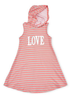 Girls 7-16 Graphic Striped Tank Dress with Hood - 1615051060188