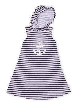 Girls 7-16 Graphic Striped Tank Dress with Hood - NAVY - 1615051060188
