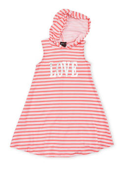 Girls 7-16 Graphic Striped Tank Dress with Hood - NEON PINK - 1615051060188