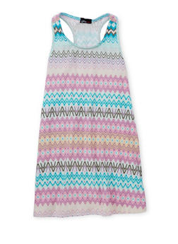 Girls 7-16 Sleeveless Printed Tank Dress - AQUA - 1615051060190