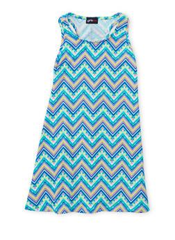 Girls 7-16 Sleeveless Printed Tank Dress - BLUE - 1615051060190
