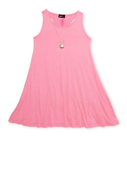 Girls 7-16 Solid Scoop Neck Tank Dress with Necklace - 1615051060191
