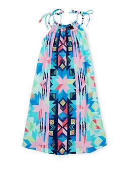 Girls 7-16 Printed Halter Neck Trapeze Dress - PINK - 1615051060192