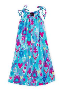 Girls 7-16 Printed Halter Neck Trapeze Dress - BLUE - 1615051060192