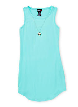 Girls 7-16 Solid Tank Dress with Necklace - 1615051060193