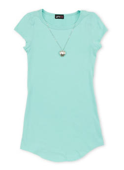 Girls 7-16 Solid T Shirt Dress with Necklace - 1615051060194