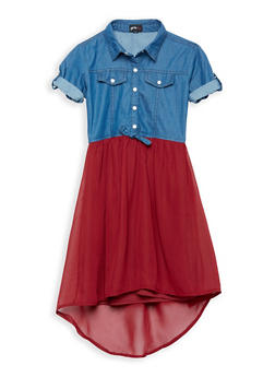 Girls 7-16 Denim Crepe High Low Dress - 1615051060198