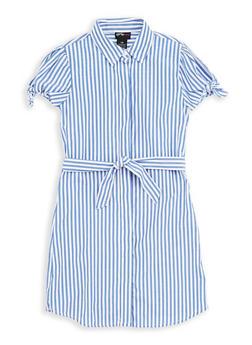Girls 7-16 Striped Tie Sleeve Shirt Dress - 1615051060199
