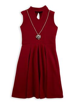 Girls 7-16 Keyhole Skater Dress with Necklace - 1615051060200