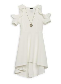 Girls 7-16 Cold Shoulder Skater Dress with Necklace - 1615051060202