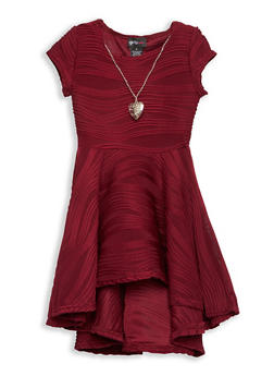 Girls 7-16 Textured Knit Skater Dress with Necklace - 1615051060203
