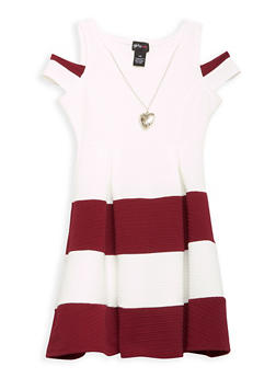 Girls 7-16 Color Block Skater Dress with Necklace - 1615051060205