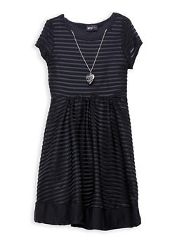 Girls 7-16 Striped Mesh Skater Dress with Necklace - 1615051060206