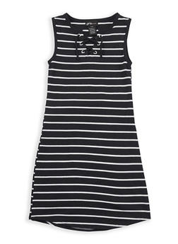 Girls 7-16 Striped Lace Up Dress - 1615051060212