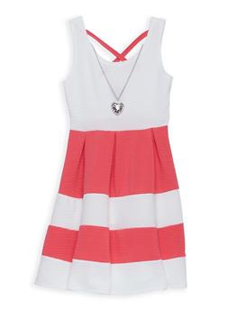 Girls 7-16 Textured Knit Striped Skater Dress - 1615051060217