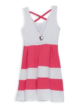 Girls 7-16 Textured Knit Stripe Skater Dress - 1615051060218