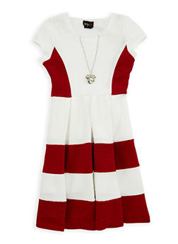 Girls 7-16 Color Block Skater Dress with Necklace - 1615051060219
