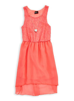 Girls 7-16 Lace High Low Dress with Necklace - 1615051060233