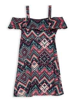 Girls 7-16 Aztec Print Off the Shoulder Dress - 1615051060300