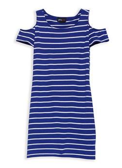 Girls 7-16 Striped Cold Shoulder Dress - 1615051060303