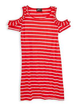 Girls 7-16 Striped Cold Shoulder Dress - 1615051060308