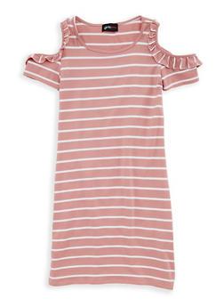 Girls 7-16 Striped Ruffle Cold Shoulder Dress - 1615051060309