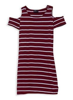 Girls 7-16 Striped Cold Shoulder Dress - 1615051060311
