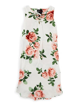 Girls 7-16 Soft Knit Floral Caged Neck Dress - 1615051060328