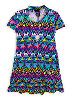 Girls 7-16 Printed T Shirt Dress with Necklace - 1615051060343