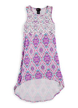 Girls 7-16 Printed Crochet Detail High Low Dress - 1615051060346