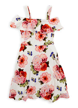 Girls 7-16 Floral Cold Shoulder Dress - 1615051060347