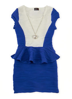 Girls 7-16 Ribbed Color Block Peplum Dress with Necklace - 1615051065045