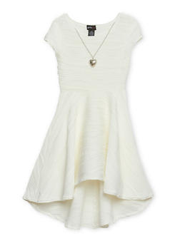 Girls 7-16 Skater Dress with Necklace - 1615051065046