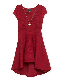 Girls 7-16 Skater Dress with Necklace - 1615051065047