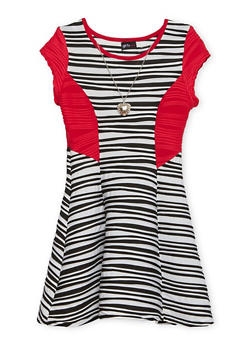 Girls 7-16 Striped Skater Dress with Necklace - 1615051065048