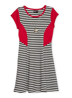Girls 7-16 Striped Skater Dress with Heart Necklace - 1615051065049