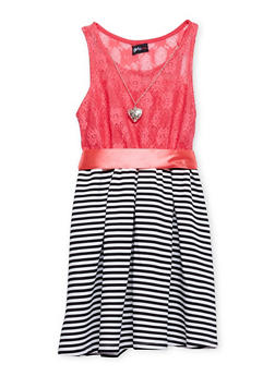Girls 7-16 Lace Dress with Striped Skirt and Heart Necklace - 1615051065050