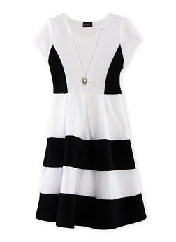 Girls 7-16 Color Block Skater Dress with Pleated Skirt and Necklace - 1615051065052