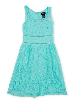 Girls 7-16 Sleeveless Lace Dress with Crochet Trim - 1615051065071