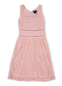 Girls 7-16 Sleeveless Lace Dress with Crochet Trim - 1615051065071