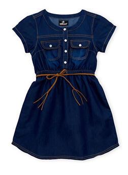 Girls 7-16 Denim Dress with Faux Suede Belt - 1615054730002