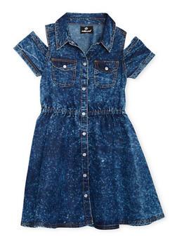 Girls 7-16 Cold Shoulder Denim Shirt Dress - 1615054730004