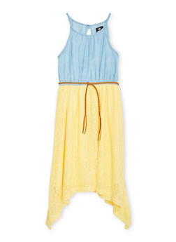 Girls 7-16 Sleeveless Chambray Dress with Lace Skirt and Braided Belt - 1615054730006