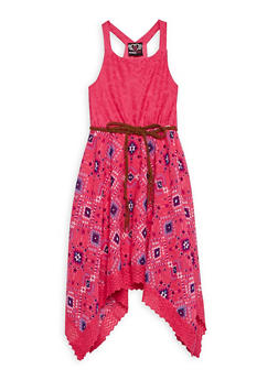 Girls 7-16 Belted Sleeveless Dress with Lace Upper Body - 1615054730008