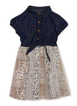 Girls 7-16 Chambray and Leopard Tulle Dress - 1615054730009