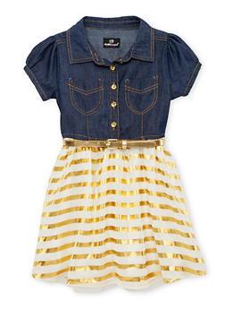 Girls 7-16 Belted Denim Dress with Metallic Striped Chiffon Skirt - 1615054730011
