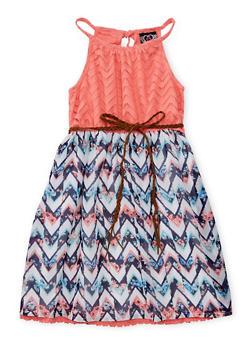 Girls 7-16 Printed Skater Dress with Braided Belt - ROSE - 1615054730014
