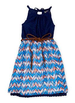 Girls 7-16 Printed Skater Dress with Braided Belt - BLUE - 1615054730014