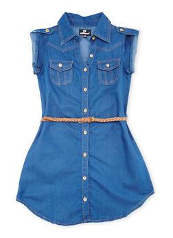 Girls 7-16 Denim Dress with Braided Belt - 1615054730015